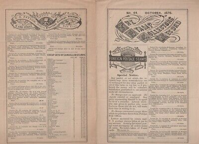 Oct 1876 S. Allan Taylor The Stamp Collectors Record Issue No 44