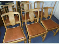 Six Vintage Oak Framed Chairs, £25 a pair