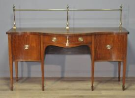 Attractive Large Antique Victorian Mahogany Serpentine Sideboard, Brass Gallery