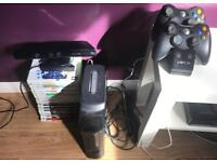 Xbox 360 bundle. 2 controllers, 18 games, connect.