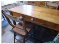 Old Victorian pine table