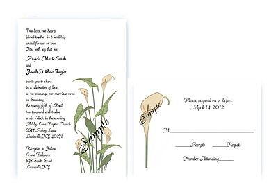 Calla Lily Wedding Invitation (100 Personalized Custom Spring Flower Calla Lily Bridal Wedding Invitations Set )