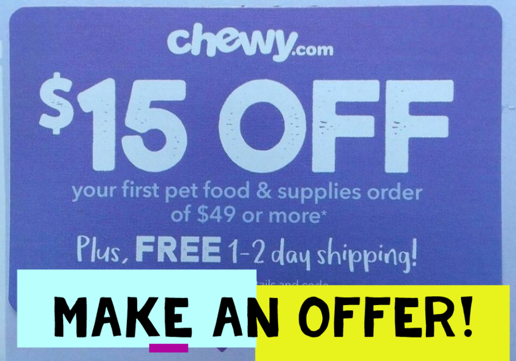 Купить Chewy.com - 🐾INSTANT delivery🐾 Chewy.com $15 off $49 discount 1Coupon Promo code ex 9-1-20