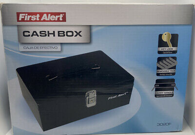 First Alert Cash Box 3020f 7 Compartment Tray Key Lock Carry Handle New