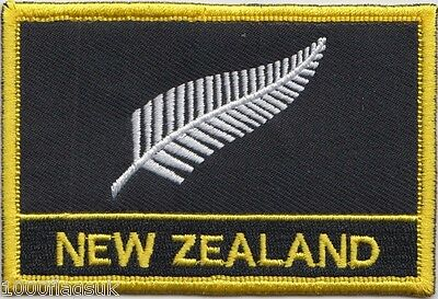 New Zealand Silver Fern Flag Embroidered Patch - Sew or Iron on