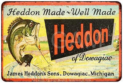Heddon by Dowagiac Vintage Look Reproduction Metal Sign 8x12 8121781