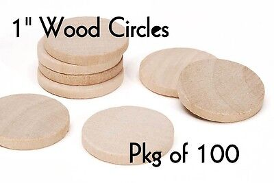 LOT of 100 ~ 1 Inch SOLID Wood Circle ~ Craft Disk ~ Pendants & Magnets ~ by PLD ()