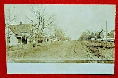 1908 RPPC Douglas, Nebraska - residential area - WOB,  posted - Olson photo, EXC