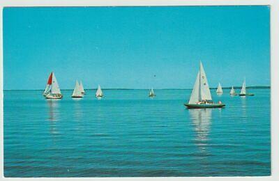 Unused Postcard Sailing on Lake Champlain Vermont VT Sailboats