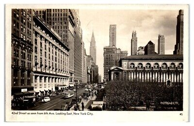 1945 RPPC 42nd Street from 6th Ave, New York City Real Photo Postcard 42nd Street Photo