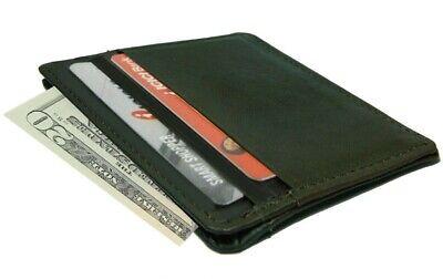 Black Cowhide Leather Mens Wallet 4 Credit Card Bill Fold Holder Super Slim Super Slim Leather