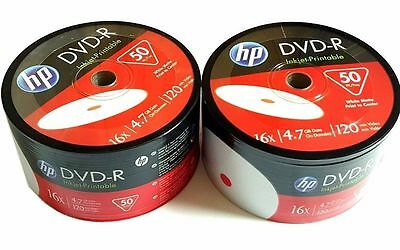 HP DVD-R 16X 4.7GB 120MIn Inkjet Hub White Printable 100pack 2x50pk Plastic Wrap