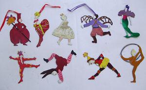 Cirque Du Soleil Set Of 9 Ornaments by Artist Judie Bomberger