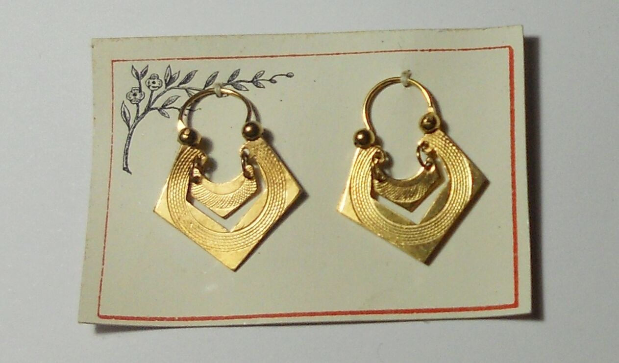 Artdeco Ohrringe von Jakob Bengel Gold Double , Eckige Kreolen auf Karte