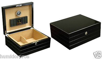 Black Finish Humidor - CIGAR HUMIDOR The Onyx 50 ct. Glossy Black Finish w/ Humidifier & Hygrometer