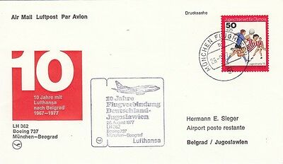 (44463) Germany Lufthansa Cover Munich - Belgrade 10 Years 26 August 1977 on Lookza