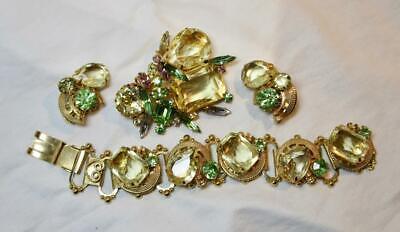Alice Caviness Gestempelt Parure Selten! Vintage Kostüm Schmuck Armband - Vintage Kostüm Schmuck Ohrringe