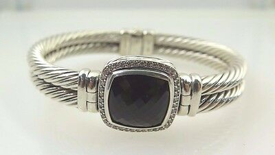 David Yurman Diamond Silver Bangle 10mm Bracelet With Smoky Quartz