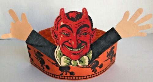 CREEPY! KOOKY! Big Old VINTAGE 1900s Germany HALLOWEEN DEVIL HAT w/WITCH!!