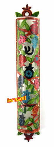 Hand Painted Mezuzah Case - Pomegranates - Made in Israel - Judaica