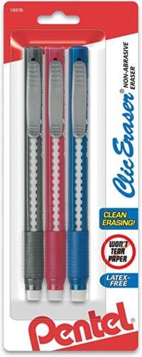 ZE21BP3M Pentel Clic Eraser Grip Pen Eraser, Assorted Colors, Pack of 3 Erasers