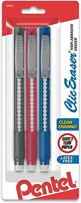 Pentel Clic Eraser Grip Pen Eraser Assorted Colors Pack Of 3 Erasers