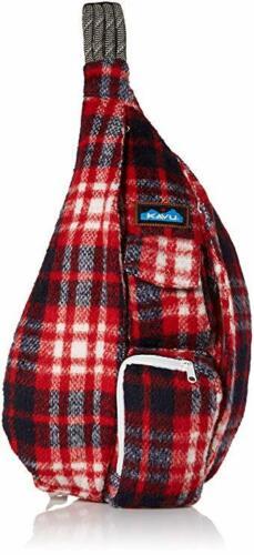 Kavu Rope Bag Sling Backpack Red Plaid Fleece - Americana USA