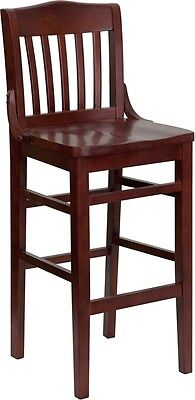 Mahogany Wood Finished School House Back Restaurant Bar Stool With Wood Seat