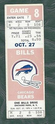 1974 10/2 football ticket Chicago Bears v Buffalo Bills O.J. Simpson
