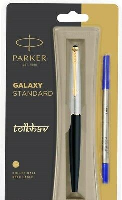 Parker Galaxy GT Roller Ball Pen Gold Trim RollerBall Black Body Blue Ink Vector Black Gt Roller Ball Pen