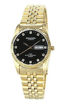 Swanson Mens Gold Day Date Watch Stone Black Dial