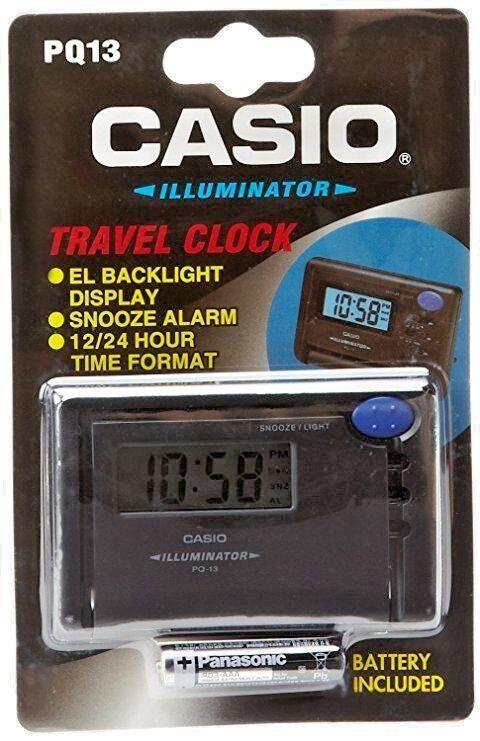 Casio PQ13-1K, Digital Travel Alarm Clock, 12/24 Hour Format, Snooze, Backlight