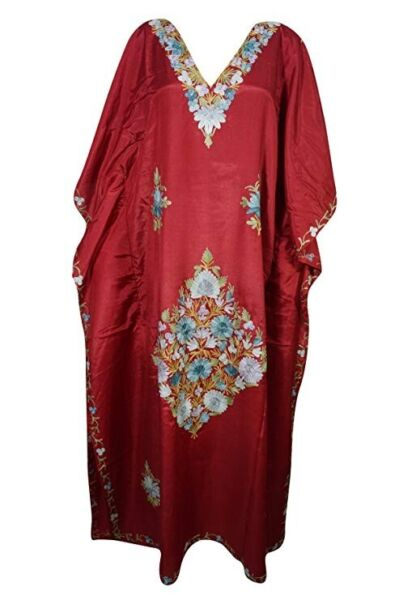 Womens Maxi Caftan Maroon Floral Embroidered Kaftan Boho Dress 3X for sale  Bexley, London