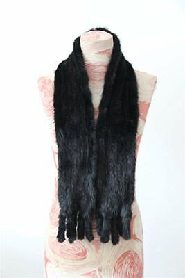 Women's Knitted Real Mink Fur Scarf Natural Fur Scarf Black 140cm Length In USA