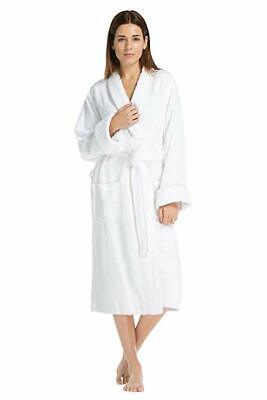 Women's White Terry Bathrobe Large XL  Bamboo Cotton Soft Full Length Spa Robe