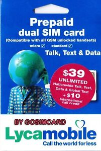 LycaMobile USA Prepaid Sim Card with 1 Month $39 Plan Loaded Free $10