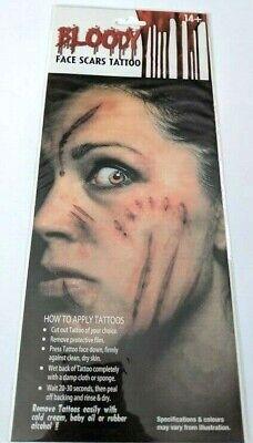 Halloween Face Tattoo Designs (Halloween Bloody Blood Face Scars Tattoo Assorted Designs Face Make Up)