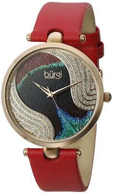 Burgi BUR131RD Swiss Quartz Swarovski Crystals Red Leather Strap Womens Watch