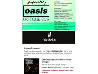 2 x Definitely Oasis tickets - #SOLD OUT# Glasgow Garage Sat 16th Dec 2017