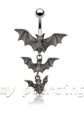 Gothic Tri-Vampire Bats Dangle Surgical Steel Belly Button Navel Ring 14G 3/8