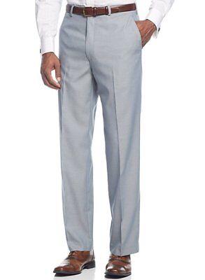 - $120 Sean John Light Blue Textured Flat Front Dress Pants Pre-Hemmed