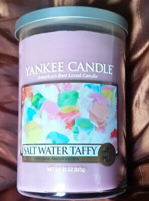 YANKEE CANDLE SALT WATER TAFFY LARGE TUMBLER CANDLE 2 WICKS NEW SMELLS GREAT