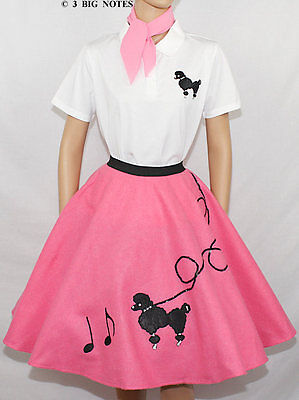 Poodle Skirts Outfits (7-Pieces HOT PINK 50's POODLE SKIRT OUTFIT ADULT LARGE - Skirt Length)