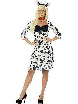 Smiffy's Women's Cow Adult Costume Dress Headband and Choker Size XS 2-4](Cow Costume For Women)
