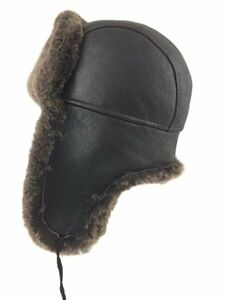 Shearling Sheepskin Leather Trapper Winter Hat - New