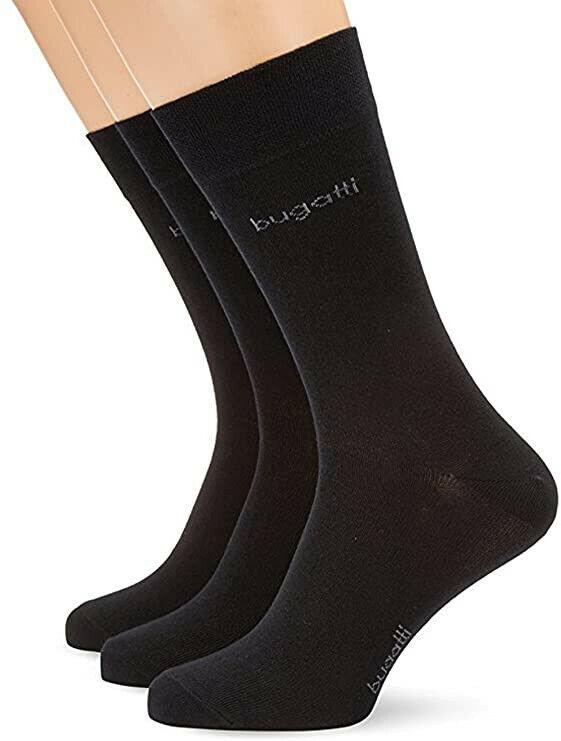 bugatti Herren Socken lang - Premium Baumwolle - schwarz - Gr. 43-46 - 2er Pack