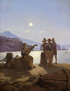Excellent-Oil-painting-Fisherman-Band-at-moon-night-by-harbor-canvas