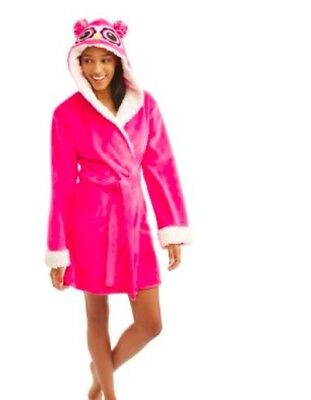 (NEW Body Candy Ladies Huggable Luxe Critter Sleepwear Robe Pink Owl Size L)