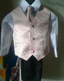 Boys toddlers 4 piece outfit shirt, waistcoat, trousers and tie champagne pink & cream