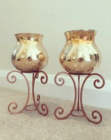 Large copper & gold candle holders